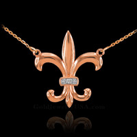 14k Rose Gold Diamond Fleur-de-Lis Necklace
