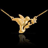 14k Gold Hummingbird with Diamond Flower Necklace
