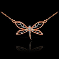 14k Rose Gold Diamond Dragonfly Filigree Necklace
