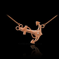 14K Rose Gold Sideways Anchor Diamond Necklace