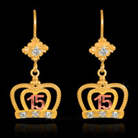 Multi-Tone Gold Quinceanera Crown CZ Earrings