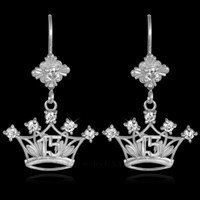 White Gold Quinceanera CZ Earrings