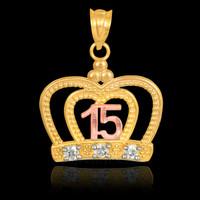 Gold Quinceanera Crown CZ Pendant