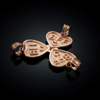 3pc Rose Gold 'BFF' Heart Pendant Set