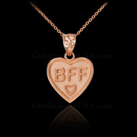 Rose Gold BFF Heart Pendant Necklace