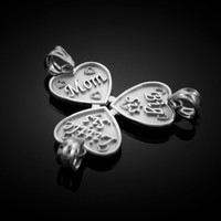 3pc White Gold 'MOM, BIG SIS, LITTLE SIS' Heart Pendant Set