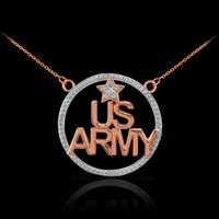 14K Rose Gold US ARMY Diamond Necklace