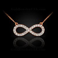 Rose gold diamond infinity necklace