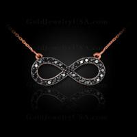 14K Rose Gold Infinity Necklace with Black Diamonds