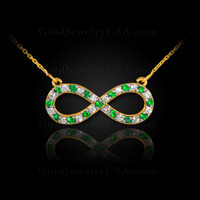 14K Gold Infinity Necklace with Diamonds and Emeralds
