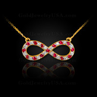 14K Gold Infinity Necklace with Diamonds and Rubies