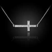 white gold sideways cross diamond necklace
