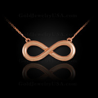 Solid, polished rose gold infinity necklace