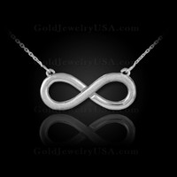 White gold half-satin matte finish infinity necklace