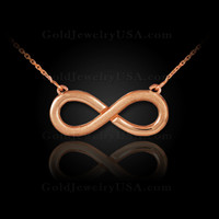 14K Matte Rose Gold Infinity Necklace