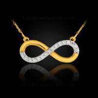 Polished gold infinity necklace with 16 diamonds