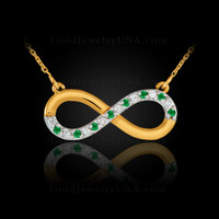 Gold Infinity necklace with diamonds and emeralds