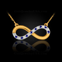Gold infinity diamond necklace with blue sapphires.