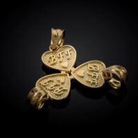 3pc Gold 'BFF' Heart Charm Set