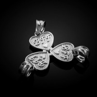 3pc White Gold 'BFF' Heart Charm Set