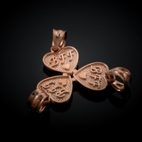 3pc Rose Gold 'BFF' Heart Charm Set