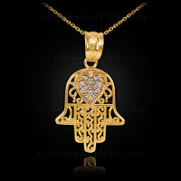 Gold Diamond Filigree Hamsa Pendant Necklace