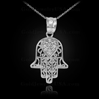 White Gold Diamond Filigree Hamsa Pendant Necklace