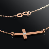 14K Rose Gold Sideways Small Curved Diamond Cross Pendant Necklace