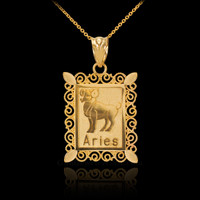Polished Gold Aries Zodiac Sign Rectangular Pendant Necklace