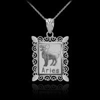Polished White Gold Aries Zodiac Sign Rectangular Pendant Necklace