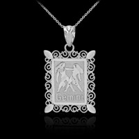 White Gold Gemini Zodiac Sign Filigree Square Pendant Necklace
