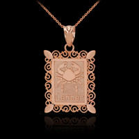 Rose Gold Cancer Zodiac Sign Filigree Pendant Necklace