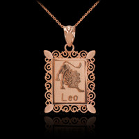Polished Rose Gold Leo Zodiac Sign Rectangular Pendant Necklace