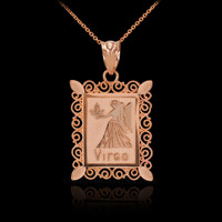Rose Gold Virgo Zodiac Sign Filigree Square Pendant Necklace