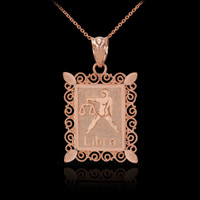 Rose Gold Libra Zodiac Sign Filigree Square Pendant Necklace