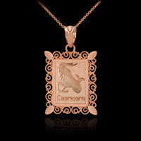 Rose Gold Capricorn Zodiac Sign Filigree Square Pendant Necklace