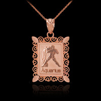 Polished Rose Gold Aquarius Zodiac Sign Rectangular Pendant Necklace