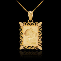 Gold Pisces Zodiac Sign Filigree Square Pendant Necklace