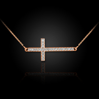 14K Rose Gold Sideways Diamond Cross Pendant Necklace