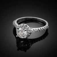 Dainty Gold CZ Engagement Ring with diamonds. Clear CZ Birthstone (Apr)