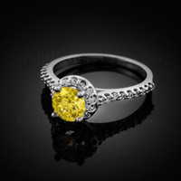 14K Dainty White Gold Citrine Halo Diamond Engagement Ring