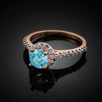 14K Dainty Rose Gold Aquamarine Solitaire Halo Diamond Engagement Ring