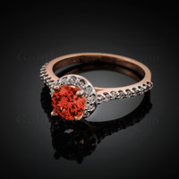 14K Dainty Rose Gold Garnet Solitaire Halo Diamond Engagement Ring