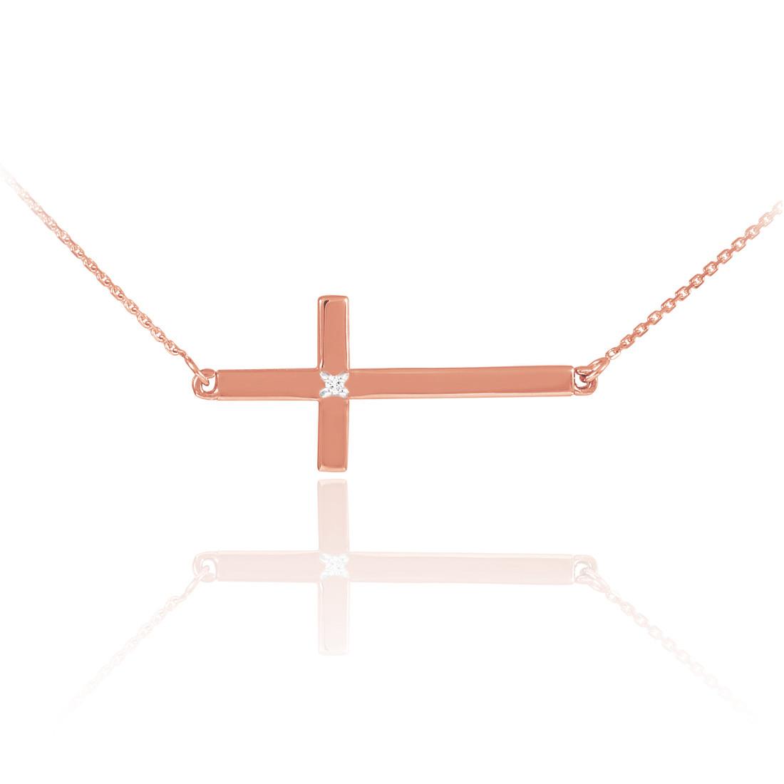 14k solid rose gold sideways diamond cross necklace aloadofball Images
