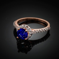 14K Dainty Rose Gold Blue Sapphire Solitaire Halo Diamond Engagement Ring