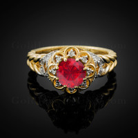14K Gold Braided Elegant Halo Ruby CZ Engagement Ring With Diamond Accents