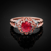 14K Rose Gold Braided Halo Ruby CZ Engagement Ring With Diamond Accents
