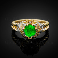 14K Gold Braided Halo Emerald CZ Engagement Ring With Diamond Accents