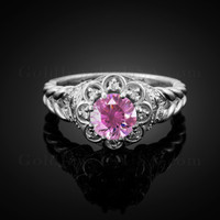 14K White Gold Braided Halo Pink CZ Engagement Ring With Diamond Accents