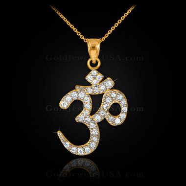 14k gold om diamond pendant necklace mozeypictures Image collections